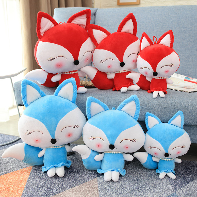 New 1pc Cute Red And Blue Little Fox Stuffed FOX IN 30/40/50CM Kawaii Animal Plush Toy Doll Baby Kid'S Gift Mini Plush Toys