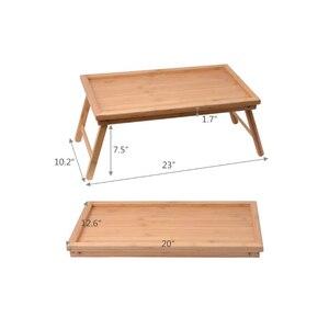 Image 3 - SUFEILE خشبية طاولة كمبيوتر محمولة قابلة للطي الإفطار تخدم صواني السرير ، قابل للتعديل طوي مع الوجه العلوي والساقين الكمبيوتر حامل مكتبي