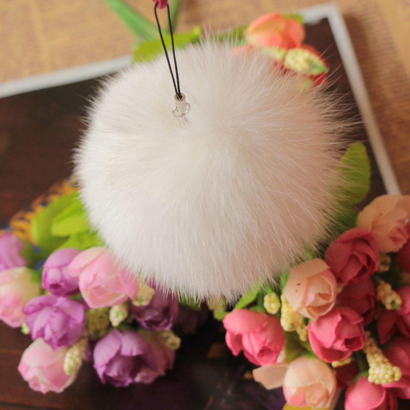 10cm Nature Genuine Fox Fur Ball Pom Pom Fluffy DIY Winter Hat   Skullies     Beanies   Knitted Cap Pompoms DEF005-white