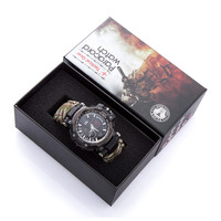 EDC Открытый выживания часы Многофункциональный водонепроницаемый 50 м Паракорд Браслет часы для мужчин женщин Кемпинг Туризм аварийное сна...