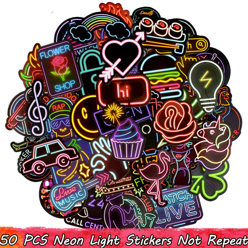 Neon Light Stickers 50 PCS