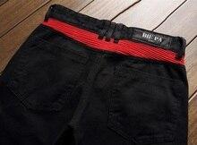 European American Style hommes jeans de marque de luxe Hommes denim pantalon rayures Slim noir à fermeture éclair Droite rouge jeans pantalon pour hommes