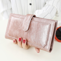 New Women's Synthetic PU Leather Clutch Money Clip Hand Bag Handbag Wallet Button Zipper Strap Multi Color Long Purse