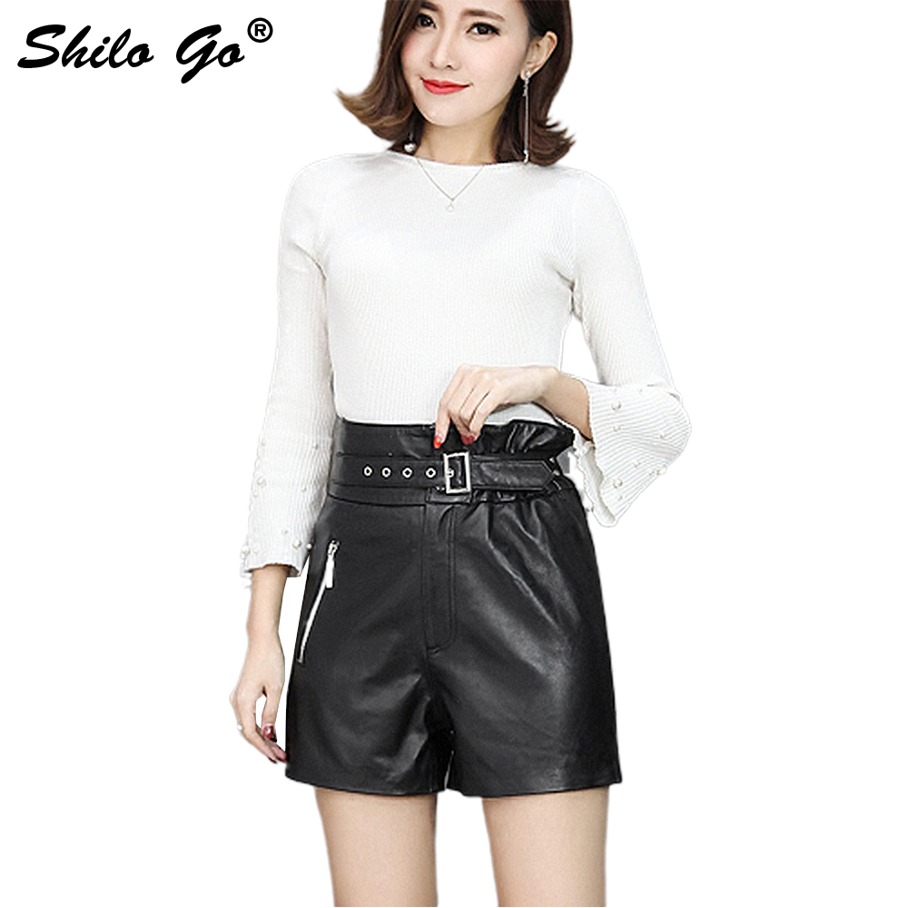 Leather Shorts Womens Autumn Fashion Sheepskin Genuine Leather Shorts Rivet Belt Ruffles High Waist Zipper Black Shorts