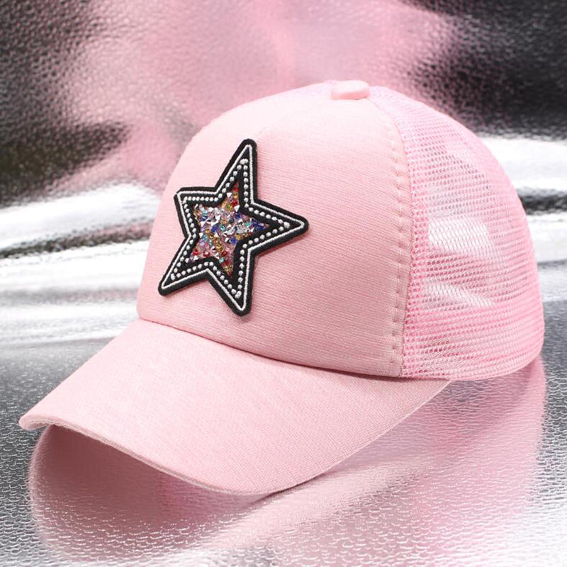 SUOGRY The New Summer Five-pointed Star   Baseball     Cap   Boys Girls Breathable Net Hat Patch Casual Kids Hat Casquette Snapback