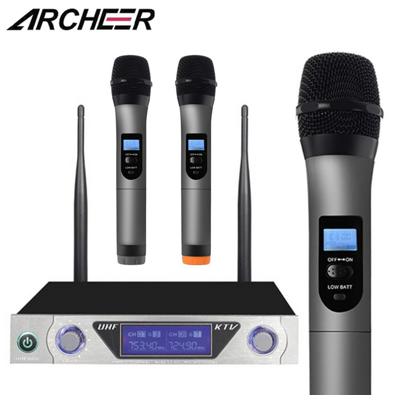 ARCHEER UHF Karaoke Wireless Microphone System With 2 Handheld Mic Dual Channel UHF Transmitter Microphone Systerm For Karaoke archeer uhf karaoke wireless microphone system with 2 handheld mic dual channel uhf transmitter microphone systerm for karaoke