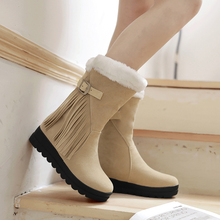 2016 New short women furry snow boots ladies fashion fringe botines mujer causual shoes winter warm fur moon boot plus size 2013