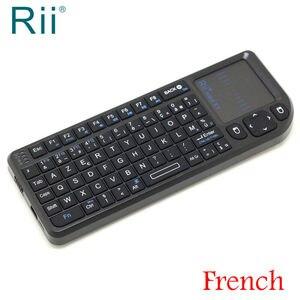 Image 1 - الأصلي Rii Mini X1 الفرنسية (أذربيجان) لوحة مفاتيح لاسلكية صغيرة 2.4GHz ماوس هوائي مع لوحة اللمس ل تي في بوكس أندرويد/كمبيوتر صغير/كمبيوتر محمول