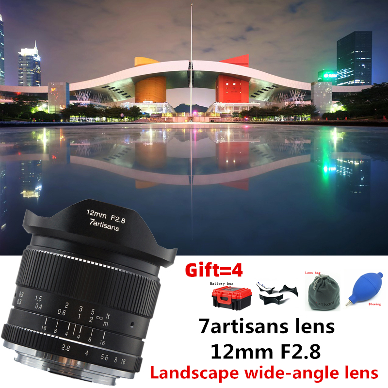 7artisans 12mm f2.8 Ultra Wide Angle Lens for Canon EOSM Fuji FX M43 E-mount APS-C Mirrorless Cameras A6500 A6300 XT2 Lens image
