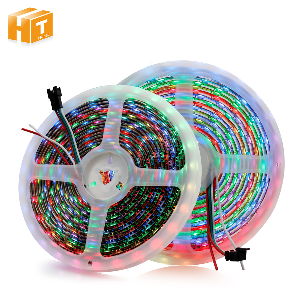 1m 2m 3m 5m Full Color WS2812B LED Strip DC5V Black / White PCB RGB Smart Pixel Control Led Strip