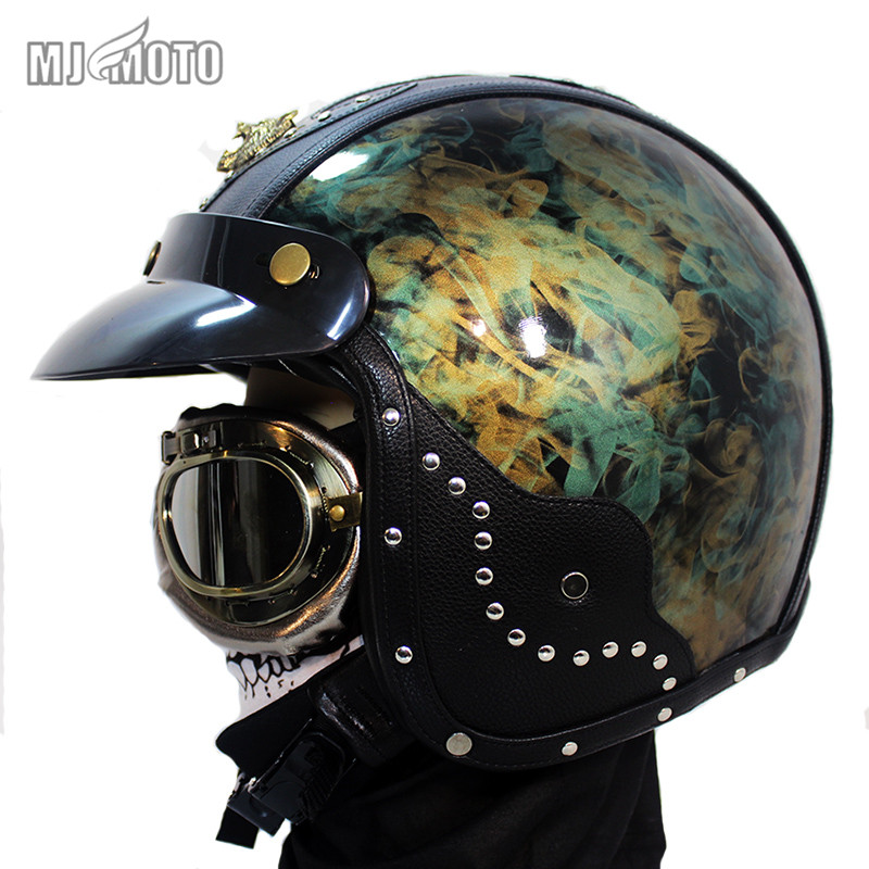 Handmade Leather Fiberglass Motorcycle helmet for Harley style 3/4 open face Cruiser Chopper helmet capacete cascos vintage extremely light weight vintage helmet fiberglass shell free style novelty helmet japan style no more mushroon head
