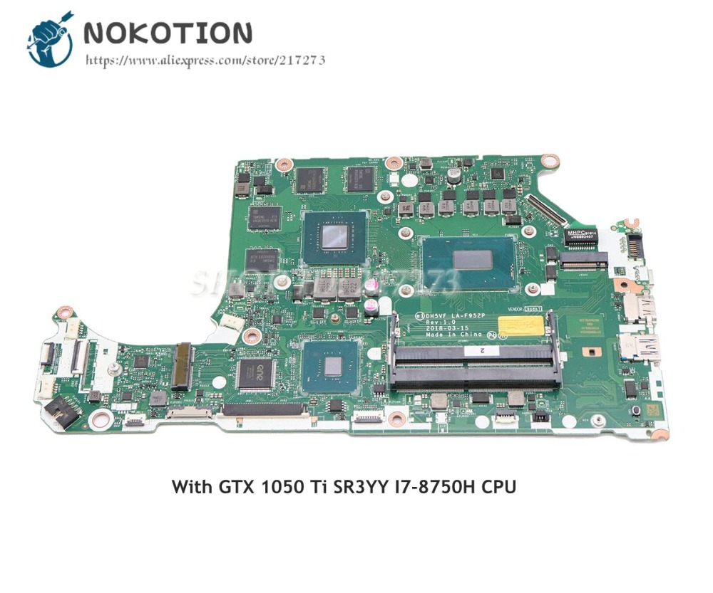 NOKOTION DH5VF LA-F952P Main Board For Acer AN515-52 AN515 Laptop Motherboard HD630+GTX 1050 Ti SR3YY I7-8750H CPU image