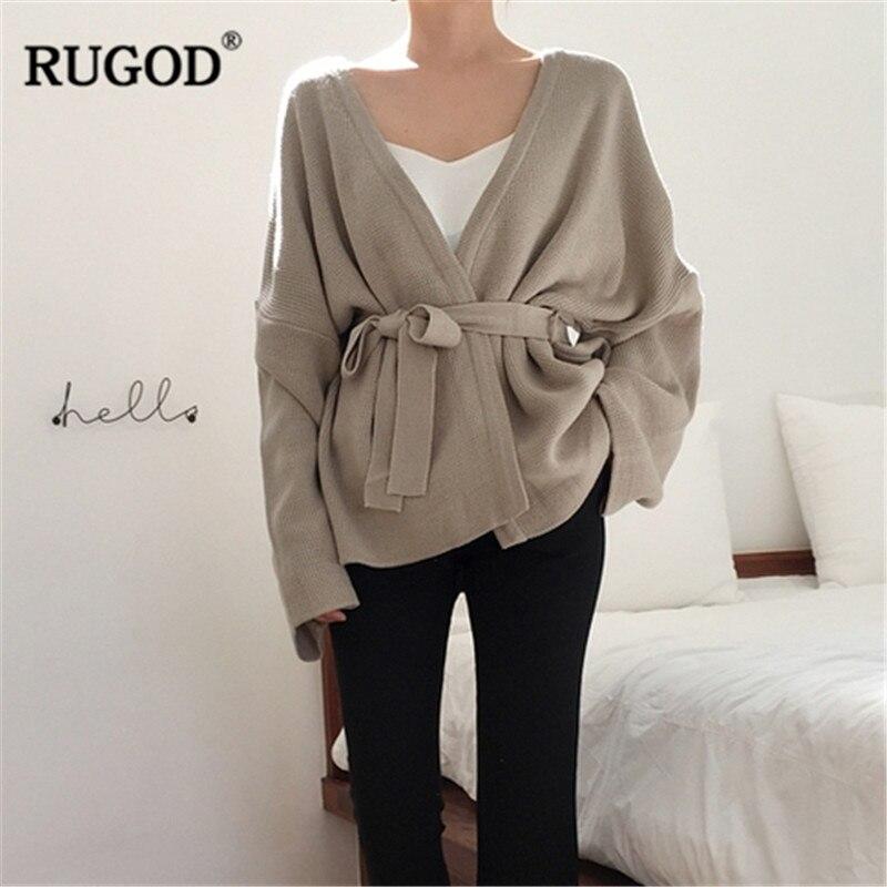 Image 2 - Женский кардиган с длинным рукавом RUGOD, однотонный Повседневный  вязаный свитер с поясом, осенне зимняя одежда, 2019Кардиганы   -