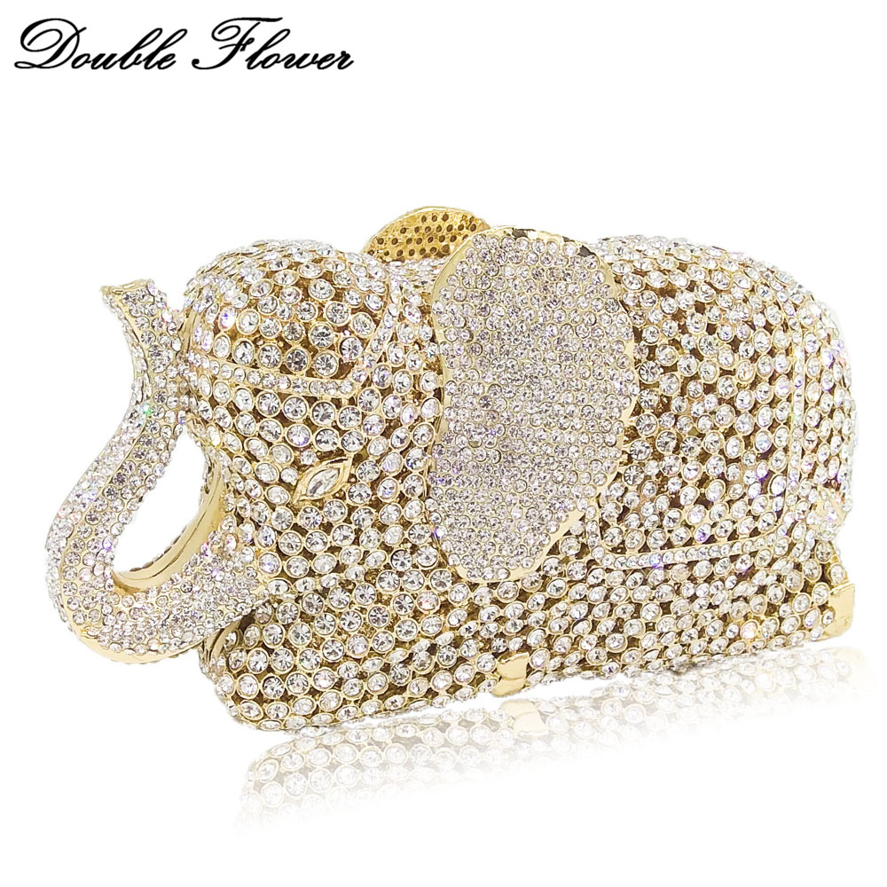Double Flower Hollow Out 3D Elephant Shape Women Gold Crystal Clutch Evening Handbags and Purses Wedding