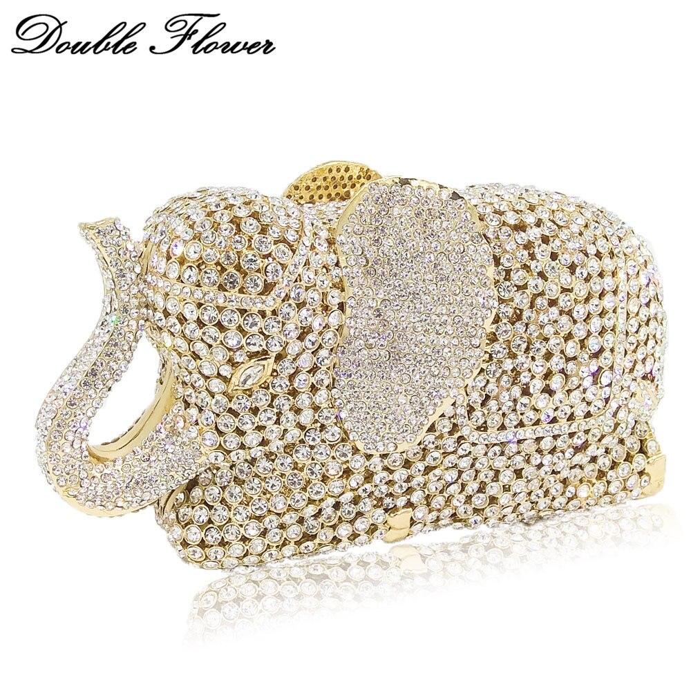 ダブル花中空アウト3d象の形女性ゴールドクリスタルクラッチイブニングハンドバッグや財布ウェディングパーティーダイヤモンドバッグ  グループ上の スーツケース & バッグ からの トップハンドルバッグ の中 1