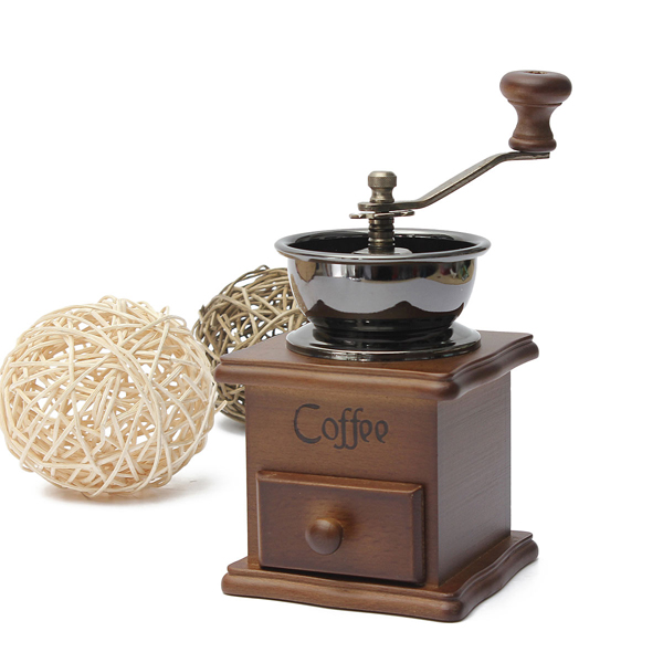 Fashion 1PCS Retro design Mini Manual Coffee Mill Wood Stand Bowl Antique Hand Coffee Bean Grind