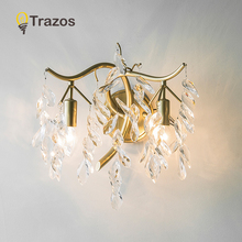 TRAZOS LED Golden Wall Lamps Bed Room Bedside Lights Modern Corridor Lamp European American Indoor Lighting With 110v 220v