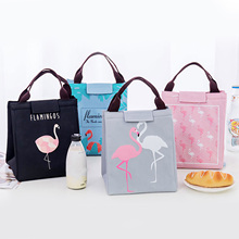 Behogar Portable Flamingo Thermal Insulated font b Lunch b font Tote font b Bag b font