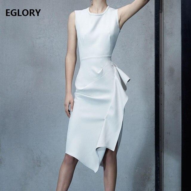 High Quality White Dress 2019 Spring Summer Sleeveelss Dress Ladies Asymmetrical Style Sheath Party Knee-Length Dress Ruffle