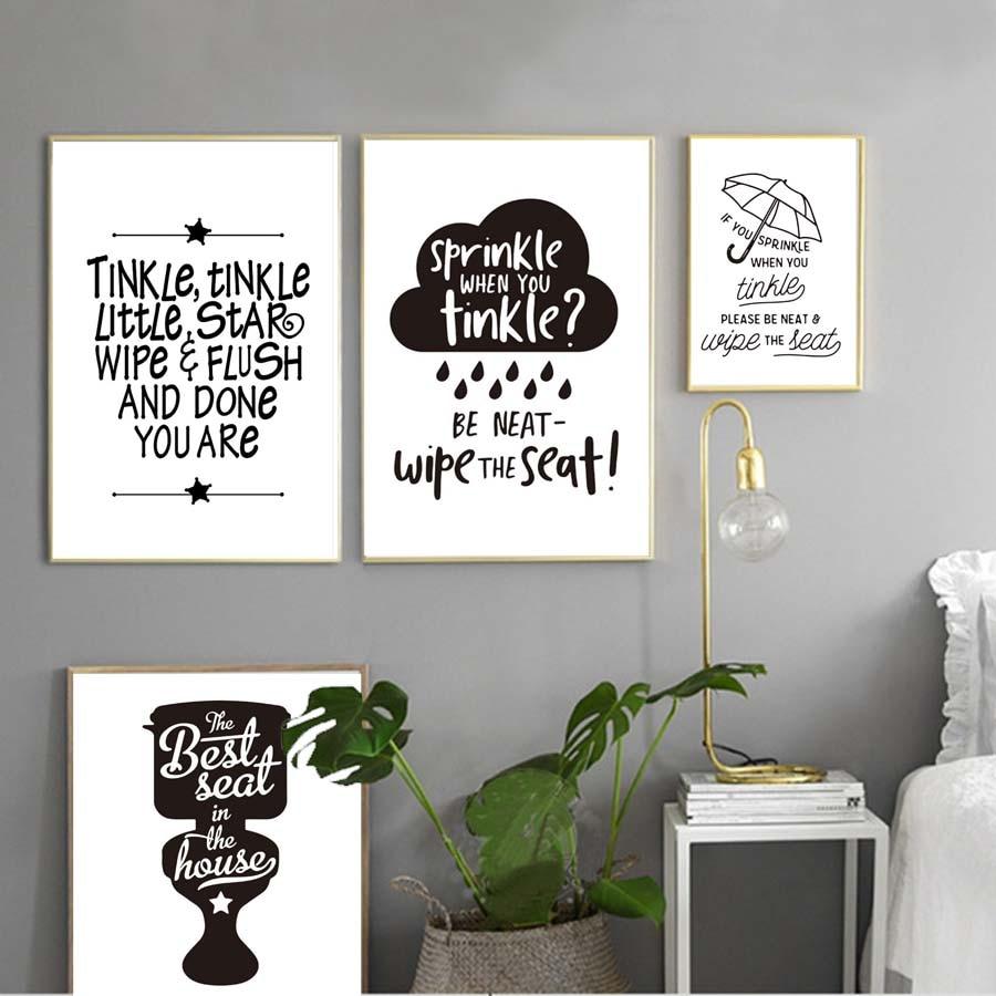 Salle De Bain Et Dressing Dans Chambre ~ Toilette Note Vie Cite Affiche Prints Moderne Toile Peinture Pour
