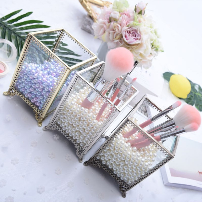 Geometric Glass Flower Room Jewelry Storage Box Copper Edge Glass Cosmetic Storage Box Desktop Pen Holder Makeup Brush in Storage Boxes Bins from Home Garden