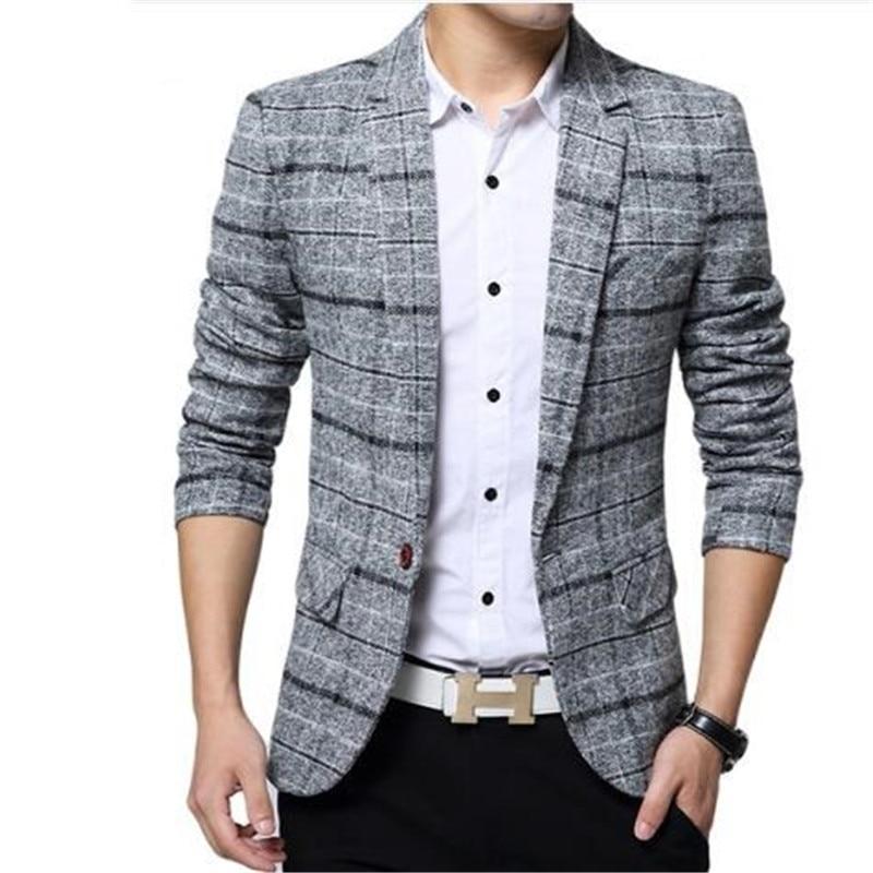2018 New Arrival Business mens blazer Casual Blazers Men lattice Formal jacket Popular Design Men Dress Suit Jackets