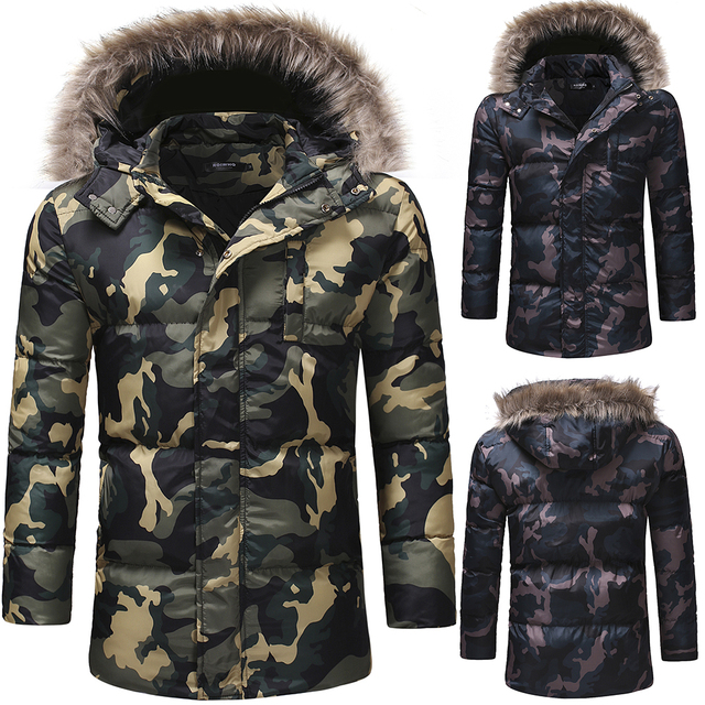 f1c5a58838fcd Abrigo de invierno para hombre grueso algodón camuflaje ocio abrigo pato  abajo chaqueta hombres
