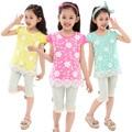 New Kids Summer Girls Color Del Cordón Coreano Niños T-shirt Ropa Amarillo Rosa Azul Rojo