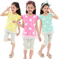 New Kids Summer Girls Lace Color Korean Children T-shirt Clothing Yellow Blue Rose Red