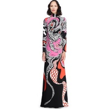 Spring summer 2016 fashion show in Europe and America High end printed long elastic knitted dress