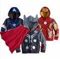 2016 Caliente al por menor de la marca de los niños ropa de abrigo, niños niñas ropa de abrigo, chaqueta de la historieta, niños escudo vengadores sudaderas con capucha/suéter