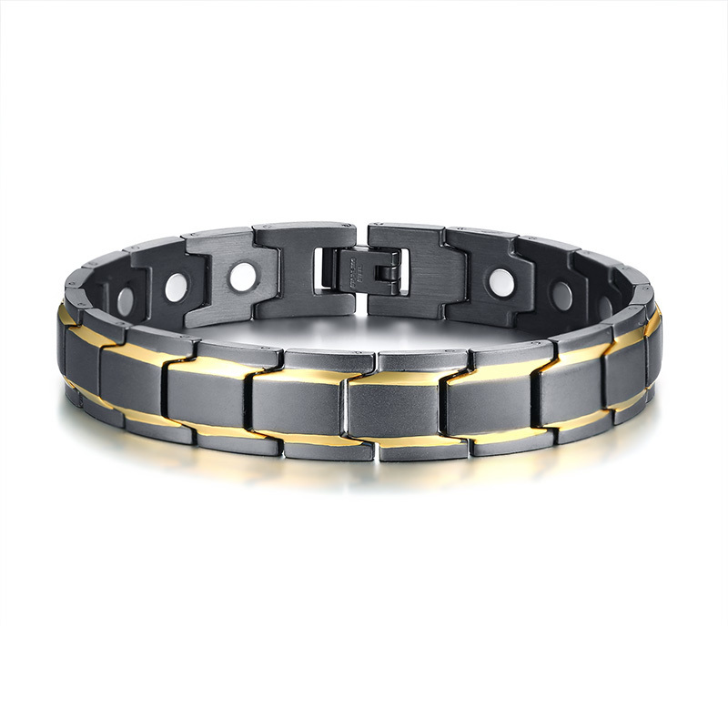 Gents Black Gold Stripes Magnetic Therapy Bracelet for Men Stainless Steel Bio Bangle Brackelts Stylish Braslet Male Jewelry