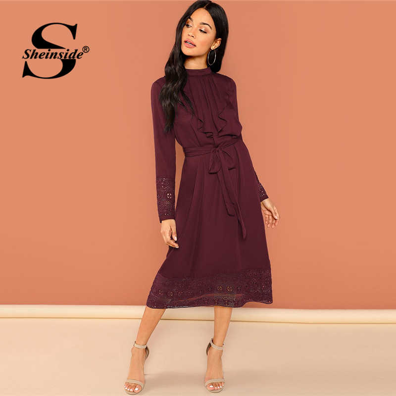 8da804ff50a Sheinside Burgundy Pleated Ruffle Lace Trim Dress Elegant Women Long Sleeve  Belted Party Dresses Office Ladies
