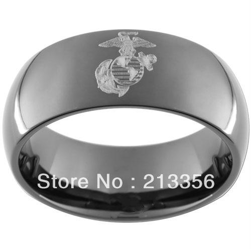 10pcslot free shippingusa wholesales cheap price 8mm womenmens hisher black - Military Wedding Rings