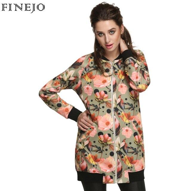 Finejo Весна Осень Пальто Куртки Женщин Vintage Цветочный Принт Куртки Florales Леди Пальто Куртки Chaquetas Mujer