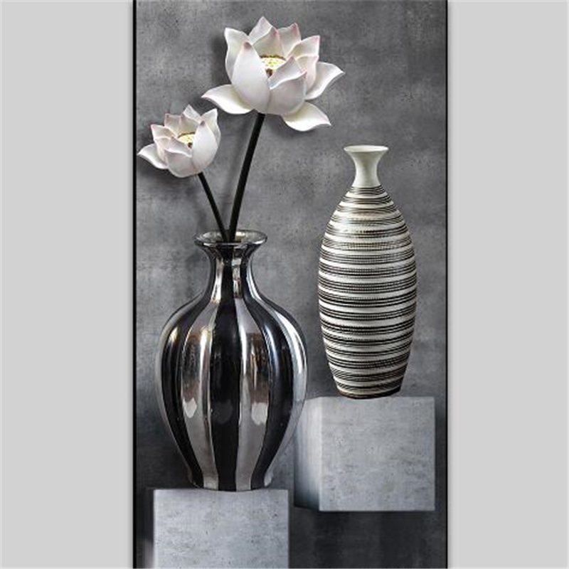 Купить с кэшбэком beibehang Custom wallpaper 3d photo mural HD black and white lotus vase 3D wallpaper porch aisle corridor background wall paper