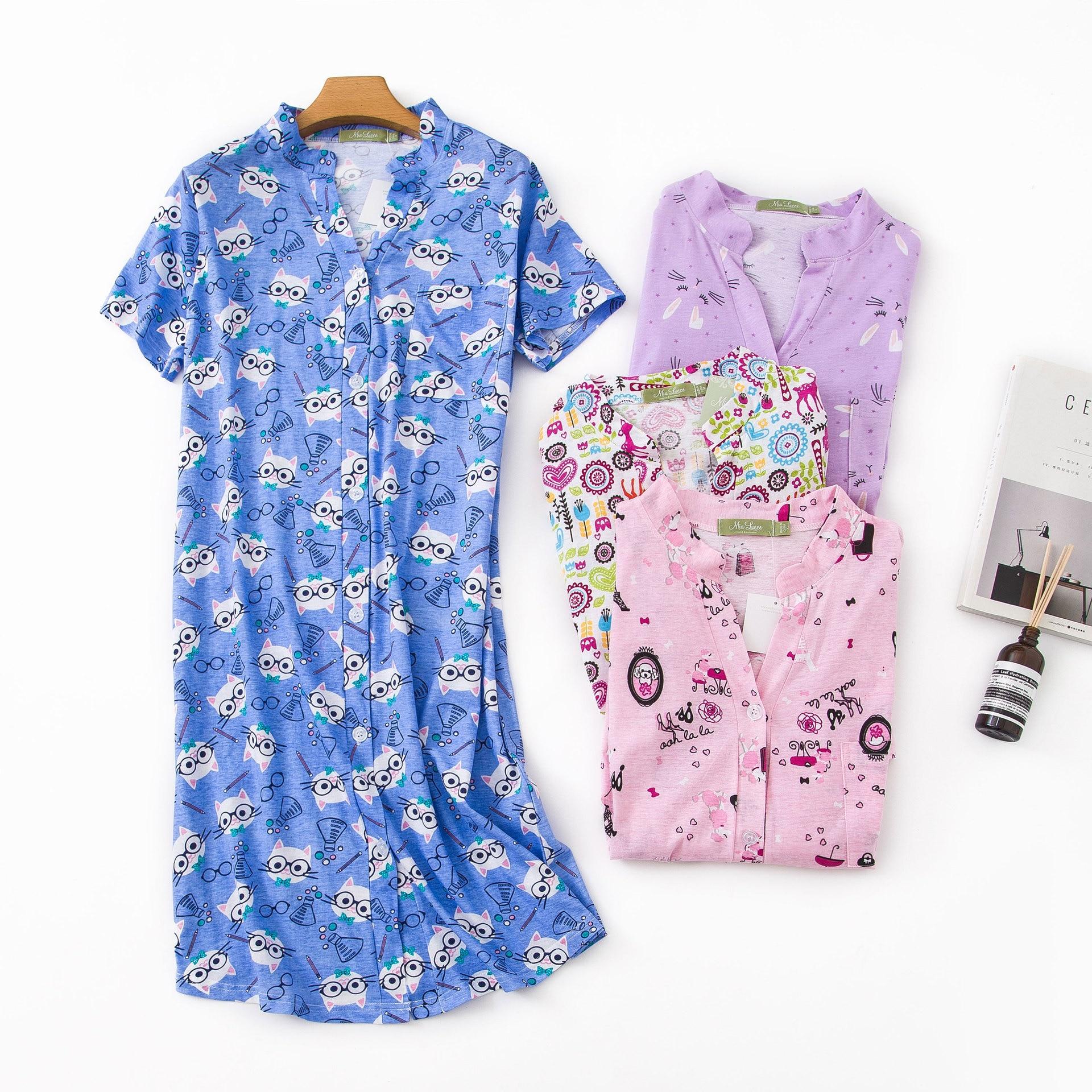 New 100% Cotton Short-sleeved Nightdress Cartoon Night Wear Ropa Para Dormir Mujer Womens   Nightgown   Sleepwear Sexy   Sleepshirts