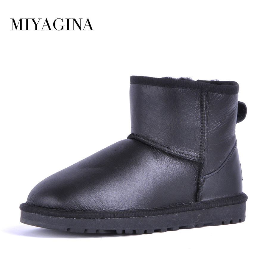 MIYAGINA Top Quality Women Snow Boots Winter Warm Women Boots Genuine Sheepskin Leather 100% Natural Fur Women Ankle Shoes
