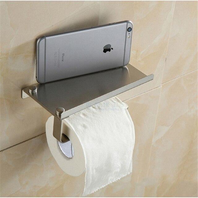 Brushed Nickel Stainless Steel Wall Mounted Bathroom Tissue Holder Toilet  Paper Holder, Mobile Phone Holder