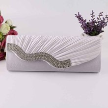 Clutches Women 2016 New Design Hot Sales Fashion Elegant Ladies Diamonds Satin Evening Bags Party Chain Handbag Crossbody