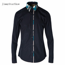 2017 New Cotton 100 % Dress Shirts High Quality Mens Casual Shirt Men Camouflage Splic Plus Size 4XL  Slim Fit Non-iron Shirts