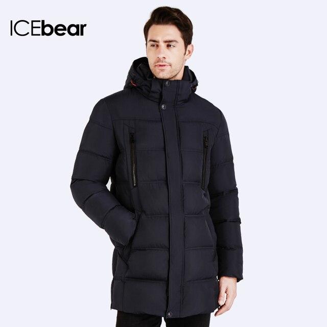 ICEbear 2016 Высокое Качество Теплые мужские Био-Пуховик Водонепроницаемый Повседневная Верхняя Одежда Толщиной Средней Длины Пальто Мужчины Куртка 16MD899