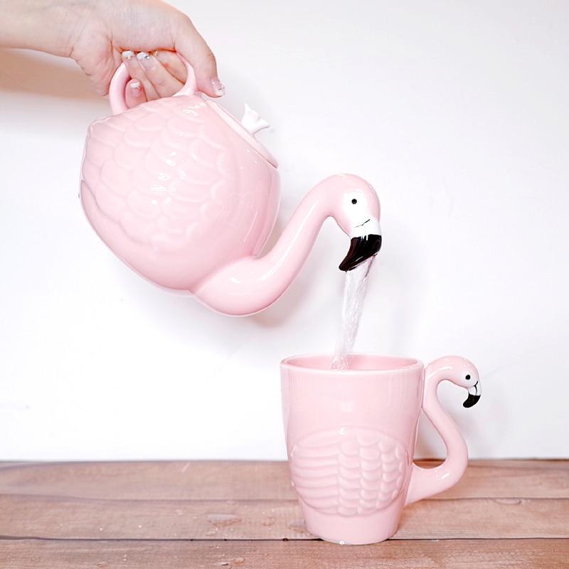Cartoon Flamingos Bird Coffee Mug Cup Tea Teapot Super Beauty ins Girl Pink Fantasy Girl Birthday Gift Home Decoration