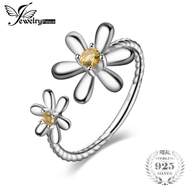 JewelryPalace Daisy Flower Rope Shank Created Orange Sapphire Ring 925 Sterling