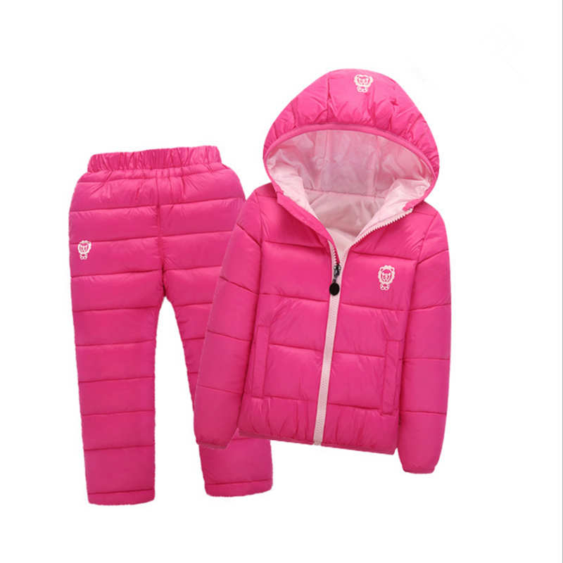 Children Set Girls Winter Clothing Suits With Hood Down Jackets + Pants Waterproof Hot Thickness Tracksuts Kids Clothes 2-10y ...