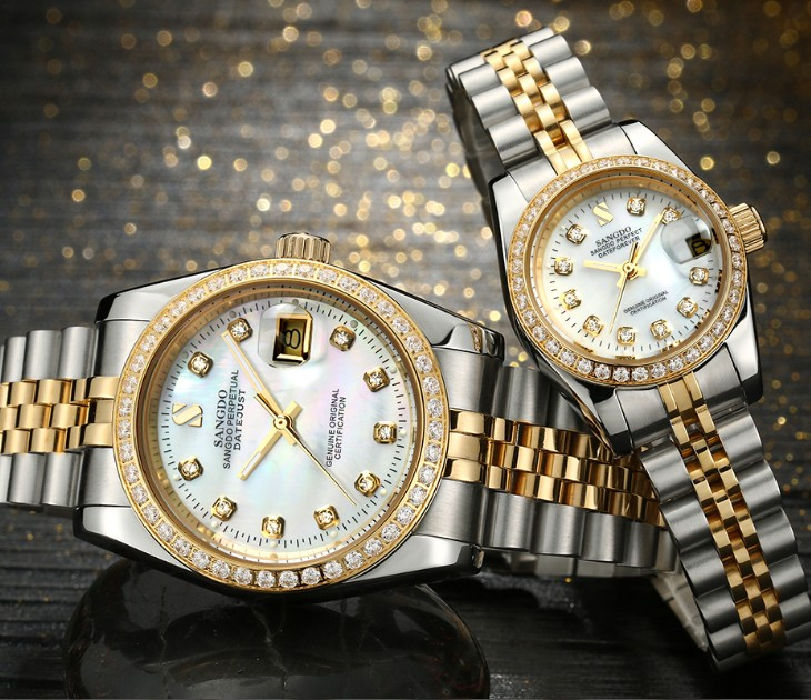 SANGDO Milk -white Dial Automatic Self-Wind Movement High Quality Luxury Couples Watch Mechanical Watches 015S