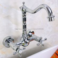 360 Swivel Chrome Brass Bathroom Basin Sink Mix Tap Dual Handles Wall Mounted Kitchen Basin Sink Mixer Faucet Bnf970