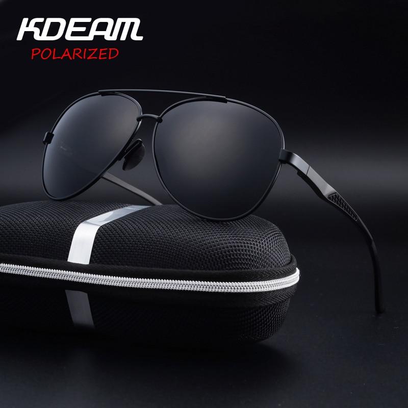 KDEAM Eyewear High quality Men Sunglasses Pilot HD Polarized mirror lens Alloy frame 6 Colors Women oculos de sol feminino UV400 uv400 polarized mirror orange lens wood frame sunglasses
