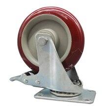 2 x Heavy Duty 125mm Rubber Wheel Swivel Castor Wheels Trolley Caster Brake Set of castor:with brake