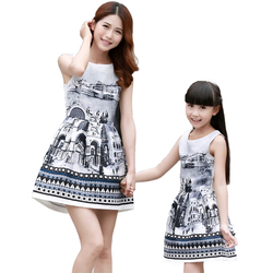 Mother and daughter dresses summer 2016 kids baby girls family look clothing teenage girls vintage chinese.jpg 250x250